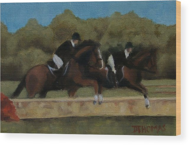 Horse Wood Print featuring the painting Hunt Scene by Donna Thomas