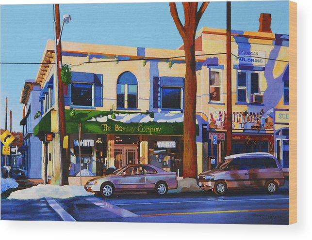 Huntington Wood Print featuring the painting Huntington Village by John Tartaglione
