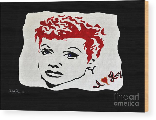 Lucy Wood Print featuring the painting I Love Lucy by Davids Digits