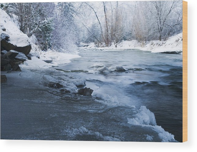 River Wood Print featuring the photograph Icy Flow by Peter Olsen