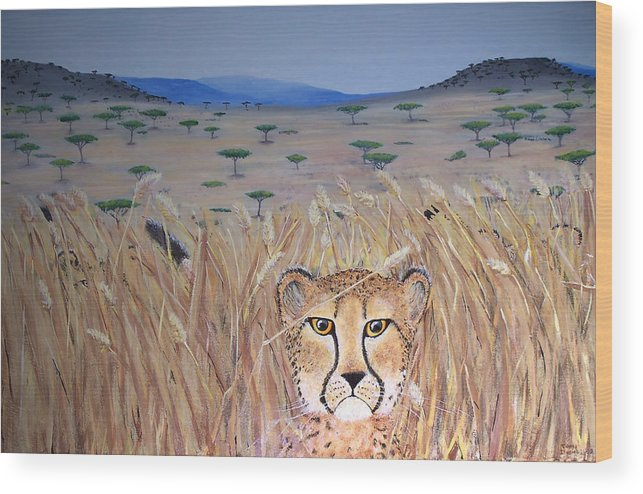 Cheetah Wood Print featuring the painting Illusion 01 by Tammy Dunn
