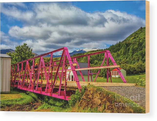 Iceland Exotic Bridges Color Full Vistas Wood Print featuring the photograph In The Pink by Rick Bragan