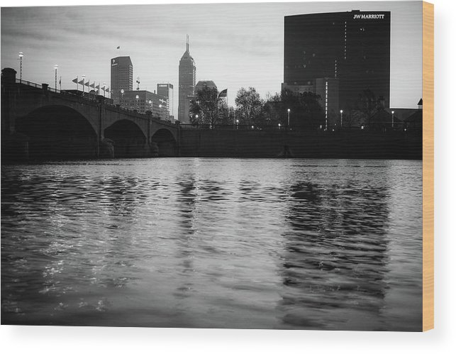 America Wood Print featuring the photograph Indianapolis On The Water - Black And White Skyline by Gregory Ballos