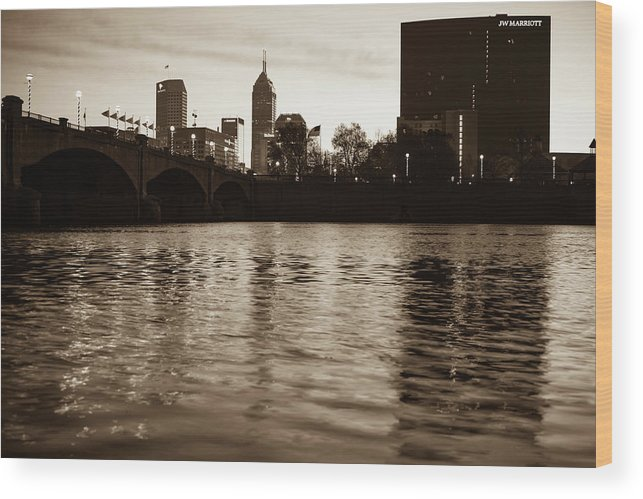 America Wood Print featuring the photograph Indianapolis On The Water - Sepia Skyline by Gregory Ballos