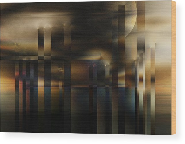 Wood Print featuring the digital art Industrial Sunset by Gae Helton