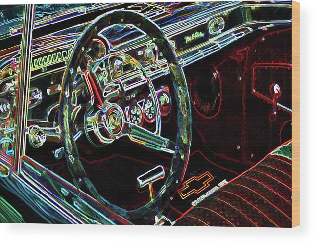 Inside Of A Classic Car Wood Print featuring the painting Inside Of A Classic Car by Jeelan Clark
