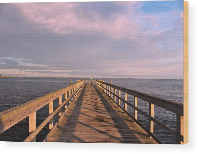 Great South Bay Wood Print featuring the photograph Into The Clouds by Karen Silvestri