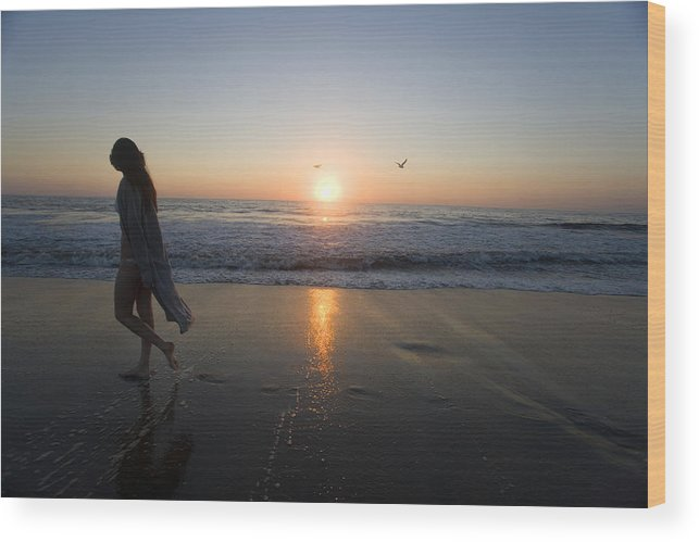 Beach Wood Print featuring the photograph Introspection 2 by Brad Rickerby