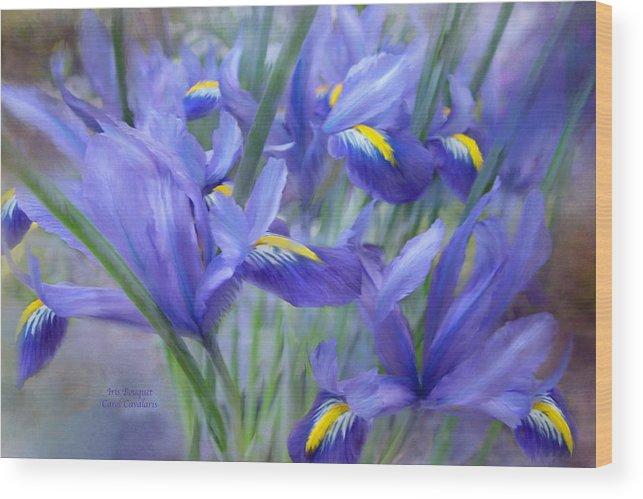Iris Wood Print featuring the mixed media Iris Bouquet by Carol Cavalaris