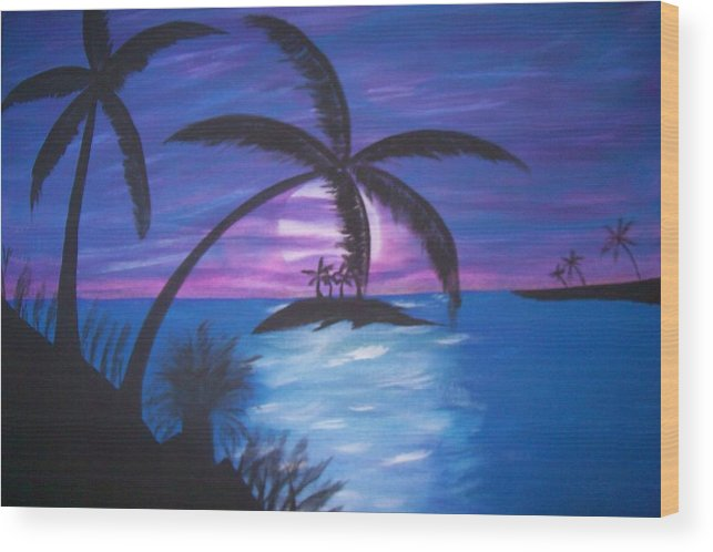 Purple Wood Print featuring the painting Island Sunset by Paula Ferguson