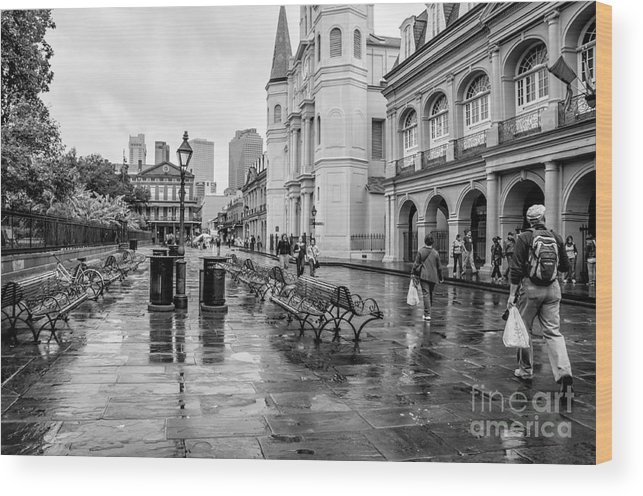 Jackson Square Wood Print featuring the photograph Jackson Square Rainy Day Nola by Kathleen K Parker
