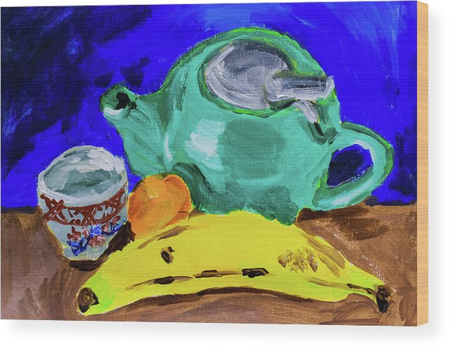 Acrylic Wood Print featuring the painting Jade Teapot by Stephanie Berry