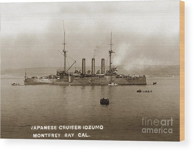 Japanese Cruiser Wood Print featuring the photograph Japanese Cruiser Izumo In Monterey Bay December 1913 by California Views Archives Mr Pat Hathaway Archives