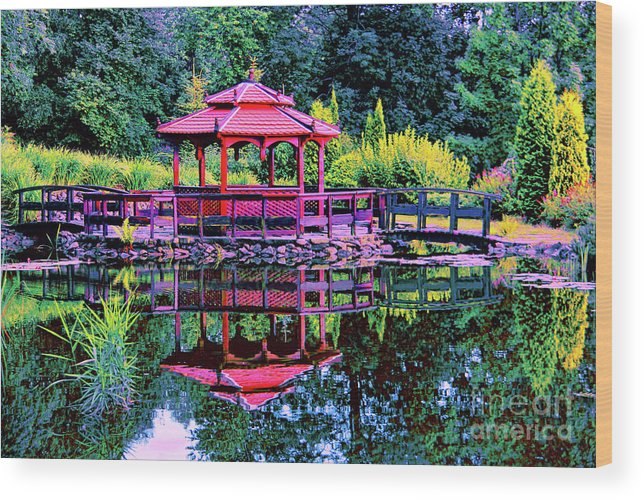 Japanese Garden Wood Print featuring the photograph Japanese Garden by Mariola Bitner