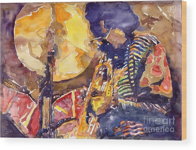 Miles Davis Figurative Jazz Miles Music Musiciant Trumpeter Watercolor Watercolour Wood Print featuring the painting Jazz Miles Davis Electric 2 by Yuriy Shevchuk