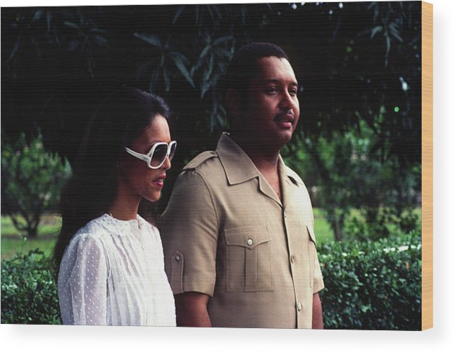 Michelle Bennett Wood Print featuring the photograph Jean-claude Duvalier And Michelle Bennett by Johnny Sandaire