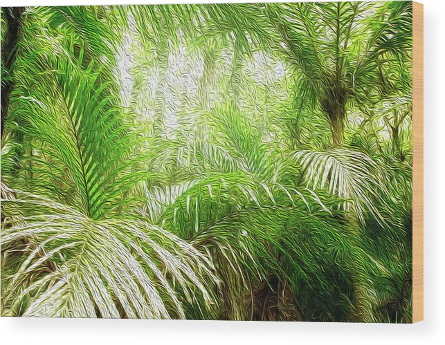 Fern Wood Print featuring the digital art Jungle Abstract 1 by Les Cunliffe
