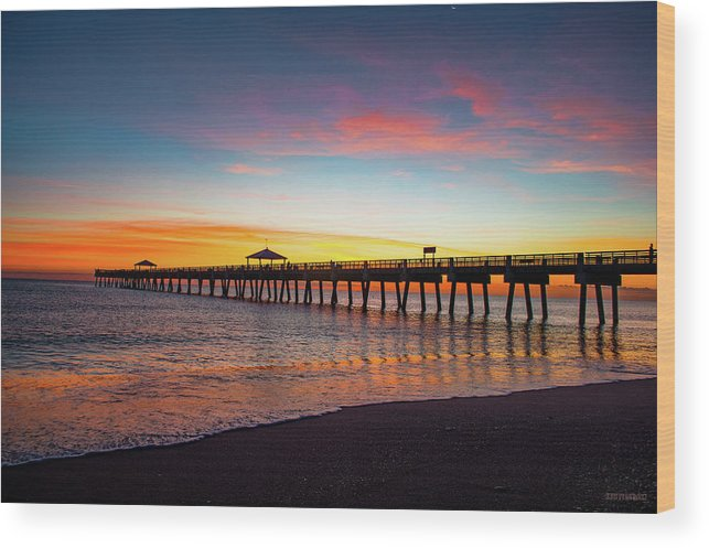 Delray Wood Print featuring the photograph Juno Pier Colorful Sunrise by Ken Figurski