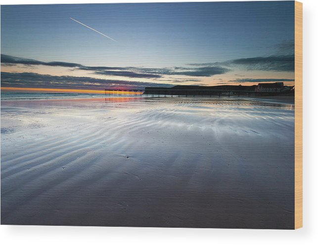 Beach Wood Print featuring the photograph Just Before Sunrise by Stephen Dewhurst
