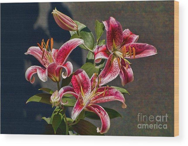 Lilies Wood Print featuring the photograph Karen's Lilies by Edward Sobuta