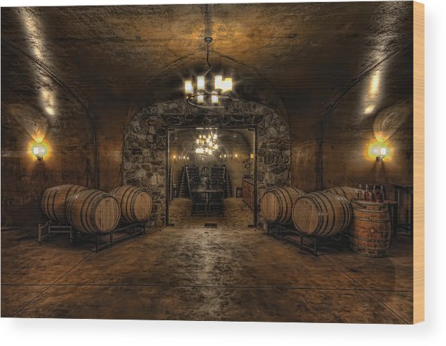 Hdr Wood Print featuring the photograph Karma Winery Cave by Brad Granger