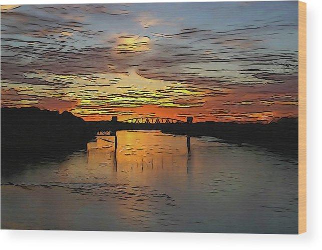 Bridge Wood Print featuring the photograph Katy Bridge Watercolor Effect by Janice Poole