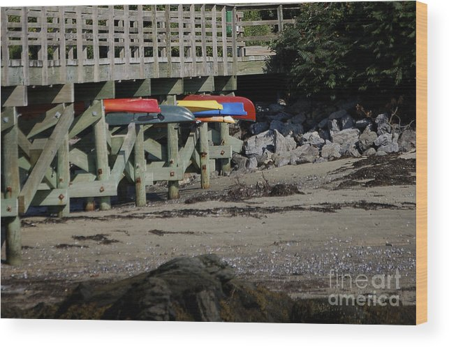 Kayak Wood Print featuring the photograph Kayak Rack by Faith Harron Boudreau