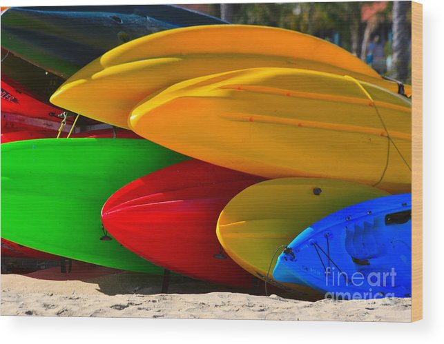 Kayaks Wood Print featuring the photograph Kayaks On The Beach by James BO Insogna