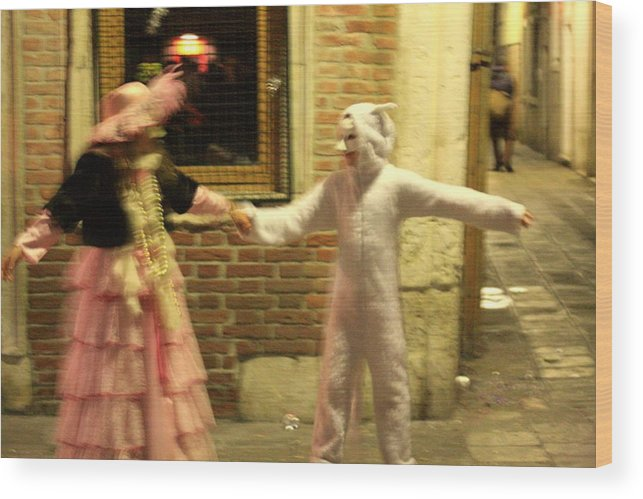 Venice Wood Print featuring the photograph Kids Dancing During Carnevale In Venice by Michael Henderson