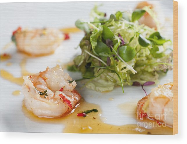 Prawn Wood Print featuring the photograph King Prawns Ginger Chilli And Coriander Starter Presented On A White Background by Andy Smy