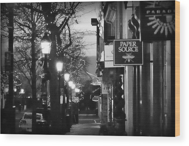 Old Town Wood Print featuring the photograph King Street At Night - Old Town Alexandria by James DeFazio