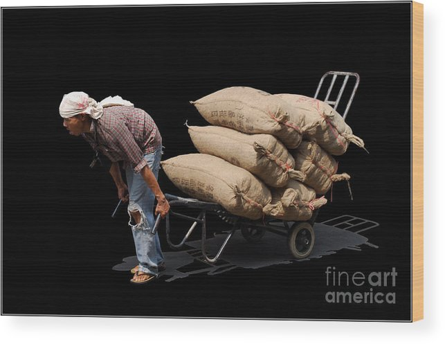 Labor Worker Culture Thailand Man Wood Print featuring the photograph Labor Worker by Ty Lee