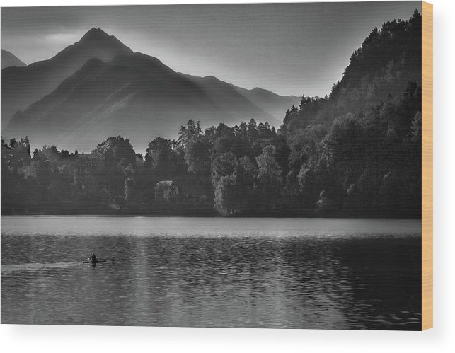 Lake Wood Print featuring the photograph Lake Bled Rower - Slovenia by Stuart Litoff