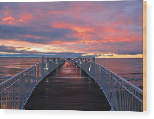 Lake Huron Pier Wood Print featuring the photograph Lake Huron Pier by Michael Rucker