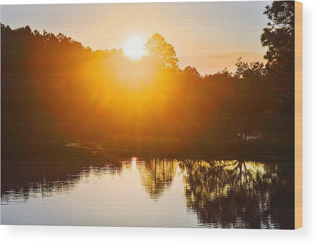 Landscape Wood Print featuring the photograph Lake Sunset by Christine DuMouchel