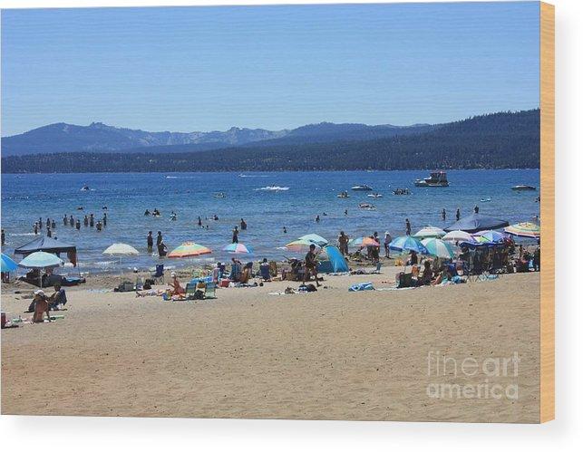 Lake Tahoe Wood Print featuring the photograph Lake Tahoe Beach Scene by Carol Groenen