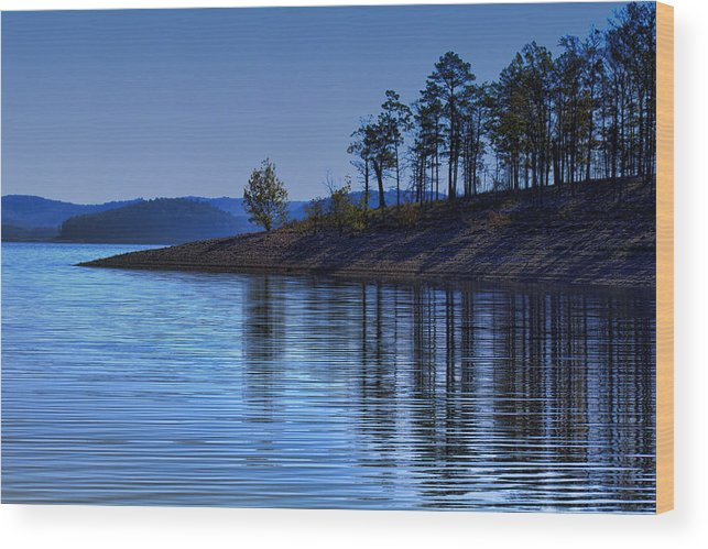 Lakeside Wood Print featuring the photograph Lakeside-beavers Bend Oklahoma by Douglas Barnard