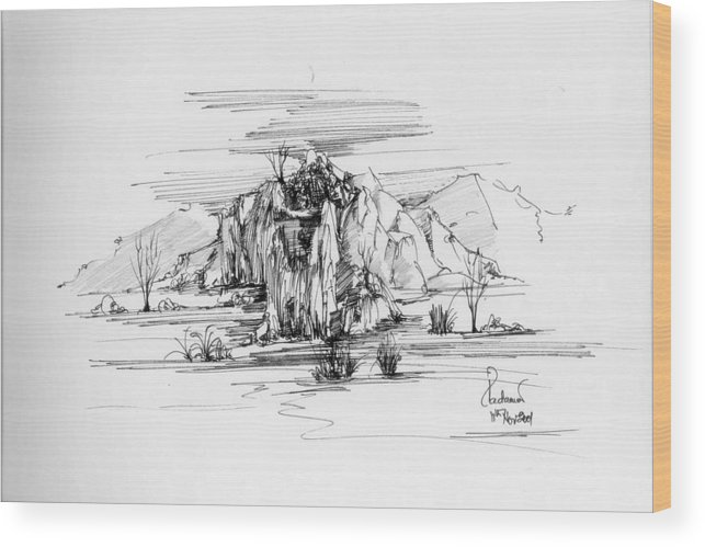 Landscape Wood Print featuring the drawing Landscape In Pen by Padamvir Singh