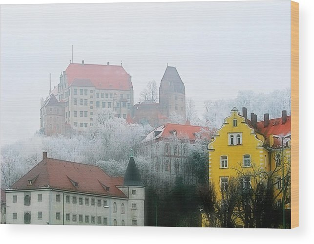City Wood Print featuring the photograph Landshut Bavaria On A Foggy Day by Christine Till