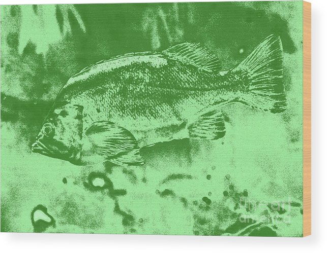 Largemouth Bass 9 Wood Print featuring the digital art Largemouth Bass 9 by Chris Taggart