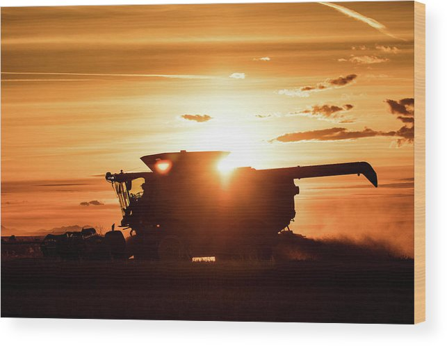 Harvester Wood Print featuring the photograph Last Bit Of Sun by Todd Klassy