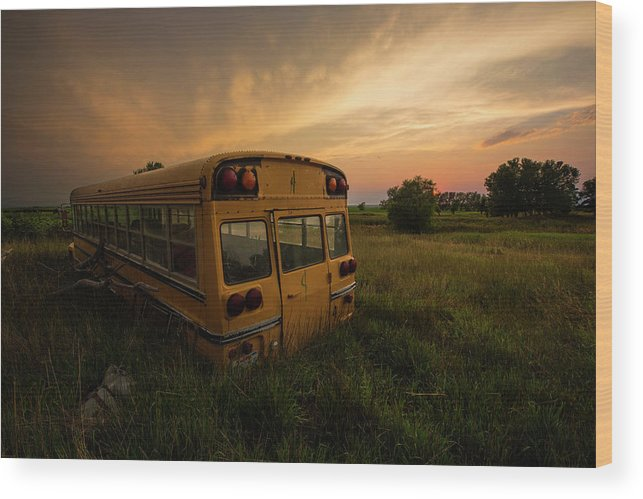 Sunset Wood Print featuring the photograph Last Stop by Aaron J Groen