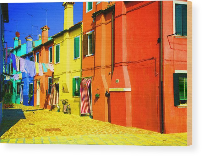 Burano Wood Print featuring the photograph Laundry Between Chimneys by Donna Corless
