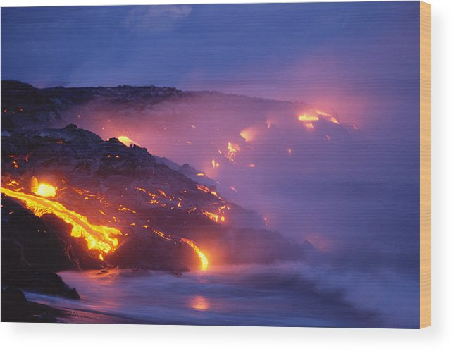 A'a Wood Print featuring the photograph Lava At Twilight by Peter French - Printscapes