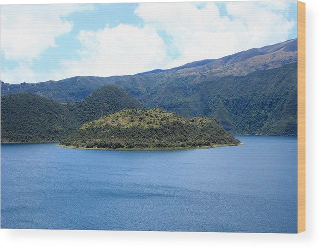 Island Wood Print featuring the photograph Lava Dome Island In Lake Cuicocha by Robert Hamm