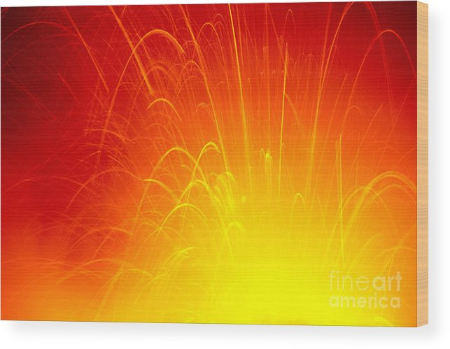 A'a Wood Print featuring the photograph Lava Explodes Into Ocean by Peter French - Printscapes