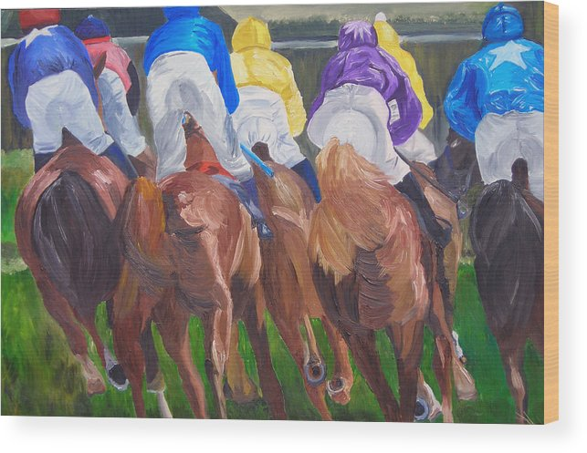 Horse Racing Wood Print featuring the painting Leading The Pack by Michael Lee