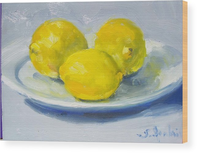 Still Life Wood Print featuring the painting Lemons On A White Plate by Susan Jenkins