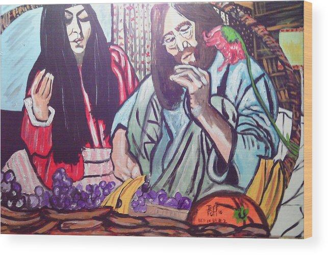 Paintings Of John Lennon And Ono Wood Print featuring the painting Lennon And Ono Bed In Two by Jeffrey Foti