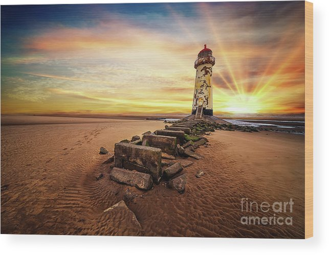 Lighthouse Wood Print featuring the photograph Lighthouse Sunset Wales by Adrian Evans
